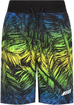 Multicolor Boy Short With Palm Tree And Logo