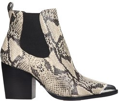 High Heels Ankle Boots In Animalier Leather