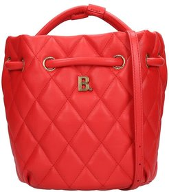 Touch Bucket Hand Bag In Red Leather