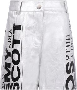 Silver Shorts For Girl With Logo