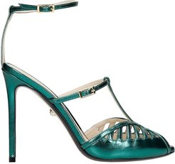 Laila 110 Sandals In Green Leather