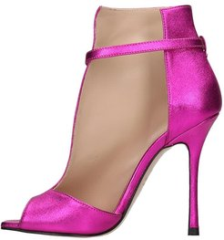 High Heels Ankle Boots In Fuxia Leather
