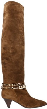 Camille 055 Low Heels Boots In Brown Suede