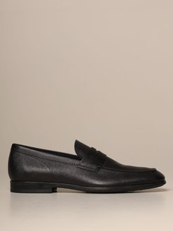 Loafers Tods Moccasin In Grained Leather With Rubber Sole