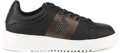 Black Twill Eagle Print Sneaker