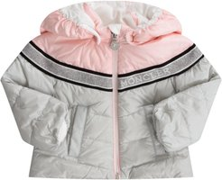 Grey And Pink Jacket For Baby Girl With White Logo