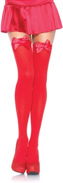 Nylon Over The Knee W/Bow in RED