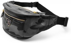Mint Camo Leather Fanny Pack Black