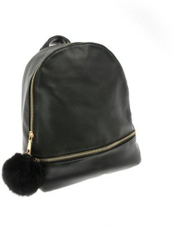 Faux Leather Mini Backpack with Faux Fur Puff