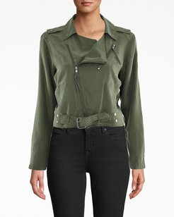 Nicole Miller Washed Habotai Kalysie Moto Jacket In Camouflage Green | Silk/Elastane | Size Extra Large
