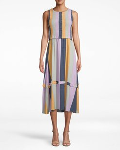 Nicole Miller Pop Stripe Smocked Midi Dress | Viscose | Size Extra Large