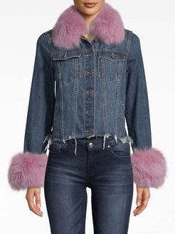 Denim Jacket With Fur In Light Pink | Polyester/Spandex/Viscose | Size Petite