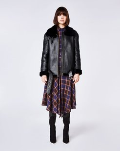 Shearling Jacket In Black | Leather | Size Petite