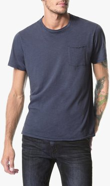 Joe's Jeans Chase Raw Edge Crew Men's T-Shirt in Still Water/Blue | Size Small | Cotton