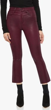 Joe's Jeans The Cropped Boot High Rise Cropped Bootcut Women's Jeans in Burgundy/Other Hues | Size 24 | Leather