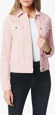 Joe's Jeans The Destructed Trucker Jacket Women's in Rose Smoke/Other Hues | Size Small | Cotton/Rayon