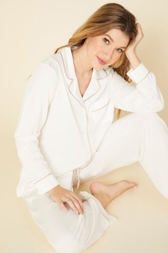 Bella Luxe Long Sleeve Top & Pant Pajama Set | Small White Woven Set