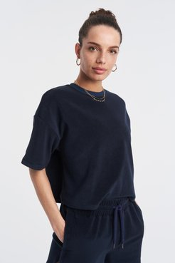 The Very Terry Crop T-Shirt in Navy Bandier