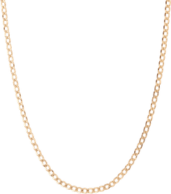 Large Gold Curb Chain Necklace - Yellow - 14K - 18