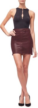 The Waxed Mini Bordeaux002 Skirt, Size 0 | 25
