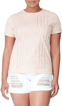 Goodies Fitted Flag Tee Blush001, Size 0