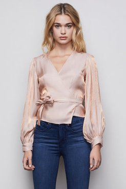 The Metallic Mystique Wrap Top Rose Gold001, Size 0