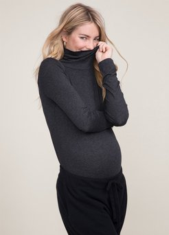 HATCH Maternity The Jersey Turtleneck, charcoal, Size 2