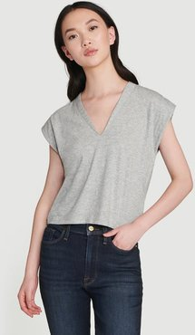 Le High Rise V Neck Tee Gris Heather Size M