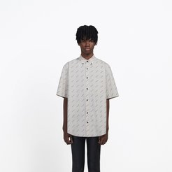 Allover Logo Normal Fit Shirt Sand/black
