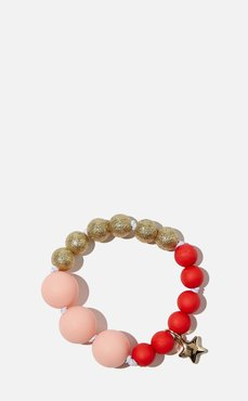 Kids - Mixed Beaded Bracelet With Metal Charm - Jolly red & pink