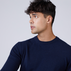 Mens Cashmere Crew Neck Sweater in Navy