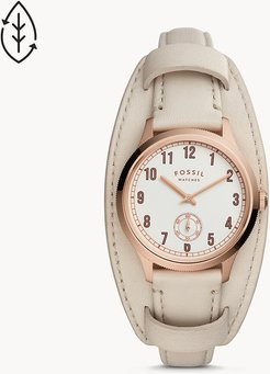 Presley Three-Hand White Leather Watch jewelry