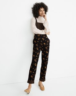 Tall Corduroy Cross-Back Overalls in Forest Floral Mix