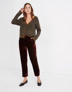 Velvet Tapered Pleat Pull-On Pants