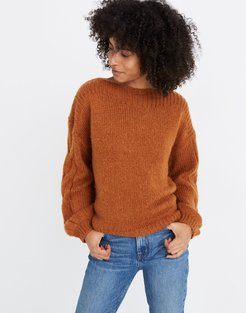 Cable-Sleeve Boatneck Sweater
