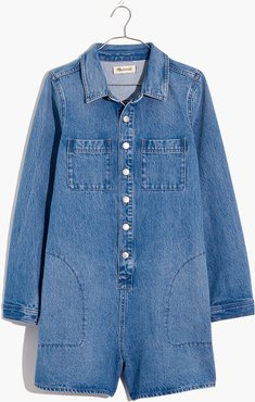 Denim Long-Sleeve Romper in Burnham Wash