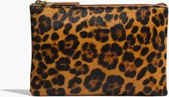 The Leather Pouch Clutch in Printed Calf Hair