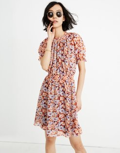 Smocked Mockneck Dress in Floral Breeze