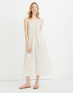 Tie-Strap Cover-Up Maxi Dress in Rainbow Stripe