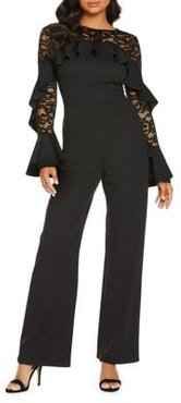 Lace Frill-Sleeve Jumpsuit