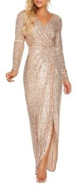 Sequined Long-Sleeve Wrap Maxi Dress