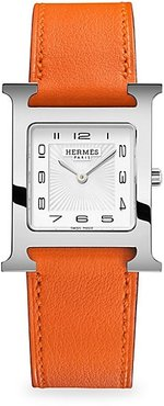Heure H 26MM Stainless Steel & Leather Strap Watch - Orange