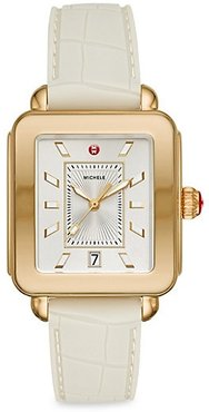 Deco Sport Goldtone Embossed Silicone Watch - White