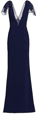Stretch Crepe & Chiffon Bow Shoulder Gown - Navy - Size 12