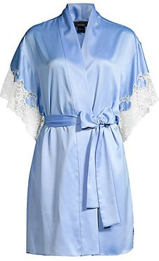 Lace-Trim Satin Robe - Boat Blue - Size Large