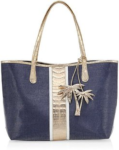 Tina Craig x Nancy Gonzalez Medium Erica Crocodile-Trimmed Linen Tote - Navy Rose