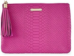All-In-One Python-Embossed Leather Clutch - Peony