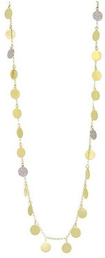 14K Yellow Gold & Diamond Disc Charm Necklace - Gold
