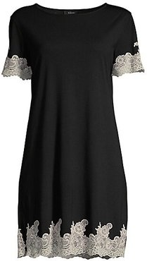 Lace Trimmed Sleepshirt - Black - Size Medium