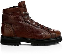 Lace-Up Leather Ankle Boots - Brown - Size 9